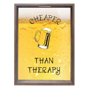 QUADRO PORTA-TAMPINHAS CHEAPER THAN THERAPY 32X42CM