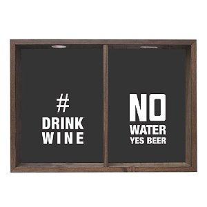 QUADRO DUPLO PORTA-ROLHAS E TAMPINHAS #DRINK WINE 38X53CM