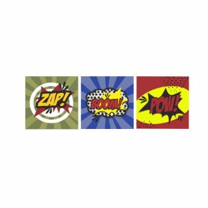 KIT COM 3 PLACAS DECORATIVAS ZAP! BOOM! POW!