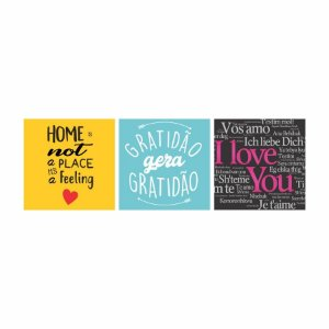 KIT COM 3 PLACAS DECORATIVAS GRATIDÃO, AMOR E LAR