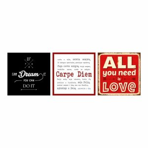 KIT COM 3 PLACAS DECORATIVAS AMOR DREAM CARPE DIEM