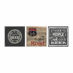 KIT COM 3 PLACAS DECORATIVAS BEER ROAD 66 GOOD BEER