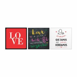 KIT COM 3 PLACAS DECORATIVAS HERDAMOS LOVE LAR