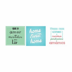 KIT COM 3 PLACAS DECORATIVAS AMOR HOME NESSA CASA
