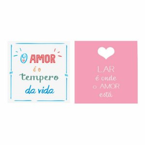 KIT COM 2 PLACAS DECORATIVAS AMOR TEMPERO DO AMOR