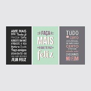 KIT COM 3 PLACAS DECORATIVAS FAÇA MAIS, AME, TUDO CERTO