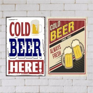KIT COM 2 PLACAS DECORATIVAS COLD BEER