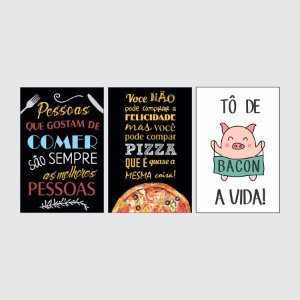KIT COM 3 PLACAS DECORATIVAS COMER FELICIDADE VIDA