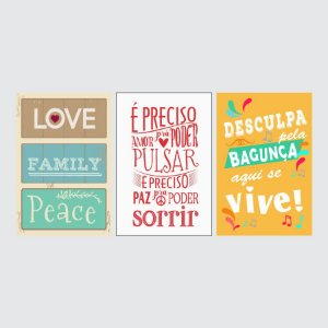 KIT COM 3 PLACAS DECORATIVAS LOVE, SORRIR E VIVE!
