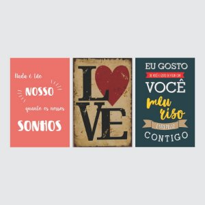 KIT COM 3 PLACAS DECORATIVAS SONHOS, LOVE E MEU RISO