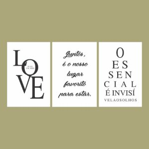 KIT COM 3 PLACAS DECORATIVAS O ESSENCIAL, JUNTOS, LOVE