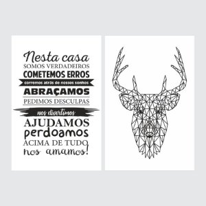 KIT COM 2 PLACAS DECORATIVAS NESTA CASA, DEER