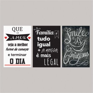 KIT COM 3 PLACAS DECORATIVAS QUE O AMOR, FAMÍLIA E SMILE