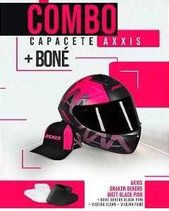 Combo 2.0 - Capacete Dekers Black Pink + Viseira fumê + Boné Dekers Black Pink