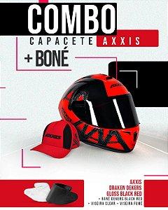 Combo 2.0 - Capacete Dekers Gloss Black Red + Viseira fumê + Boné Dekers Black Red