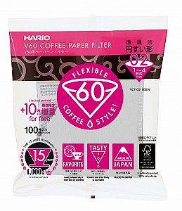 Filtro de Papel para Hario V60-02 - 100 Unidades