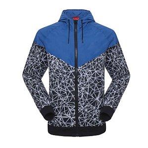 Jaqueta helanca felpada com zíper, bolso e touca
