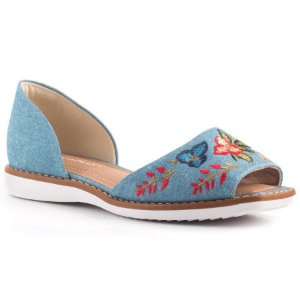 SAPATILHA FLATFORM OPEN TOE BORDADA PICCADILLY 406047