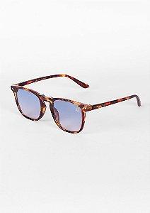 Óculos de sol quadrado tartaruga com com azul claro
