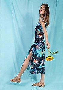 Vestido midi recortes floral preto tropical