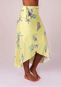 Saia transpassar floral amarelo Maldivas