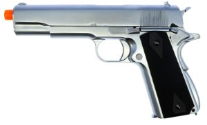 Pistola Airsoft 1911 WE GBB Matte Black Grip Chrome 6mm - Full Metal