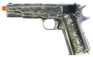 Pistola Airsoft 1911 WE GBB Pattern Silver (Floral) 6mm - Full Metal