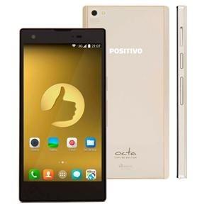 """Smartphone Positivo Octa X800 Dourado Dual Chip, Tela 5"""", Android 4.4, Câmera 13MP, 3G, Wi-Fi, Bluetooth Octa Core 1.4GHz"""