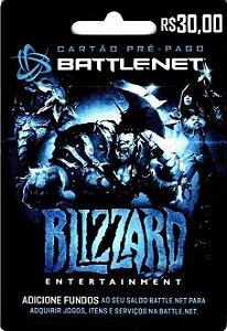 Cartão Blizzard Battle.Net R$ 30,00