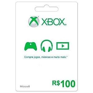 Cartão Pré Pago Xbox Live Credits R$100 Digital