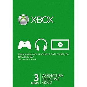 Xbox Live Gold Us Br Eu - 3 Meses De Assinatura
