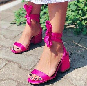 Sandália Bloco com amarração - Cetim Pink