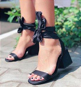 Sandália Bloco com amarração - Preto