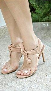 Sandália Salto Fino Tira Transparente - Pele