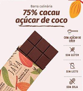 Barra de chocolate 75% cacau açúcar de coco. Apenas 5 kg