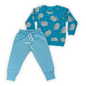 Conjunto Moletom Infantil Flanelado - Algodão - Azul Estampado