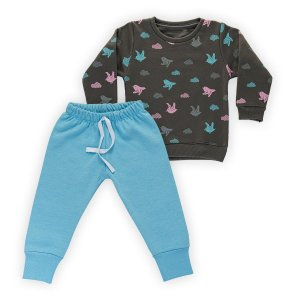 Conjunto Moletom Infantil Flanelado - Algodão - Cinza e Azul - Estampado
