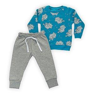 Conjunto Moletom Infantil Flanelado - Algodão - Azul e Mescla Estampado
