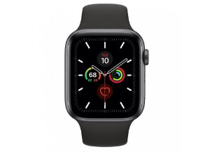 Apple Watch Serie 5 Novo, 44 mm Cinza Espacial com Pulseira Preta Esportiva: Modelo GPS - GQP8CDDNF