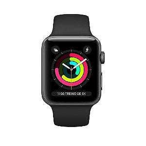 Apple Watch Serie 3 Novo, 42 mm Cinza Espacial com Pulseira Preta Esportiva - WS9ZVQGLH