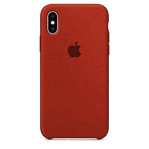 Case Capinha Vermelho Escuro para iPhone X e XS de Silicone - 5I4LOHR30