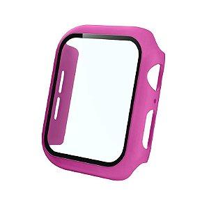 Bumper Case Com Película Rosa Hibisco para Apple Watch Series (1/2/3/4/5/6/SE) de Silicone - VSITSMRH8