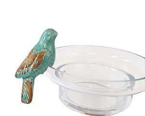 Adorno Passarinho Porcelana Azul Turquesa