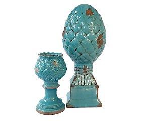 Conjunto Pinha Porcelana Azul Turquesa com porta vela