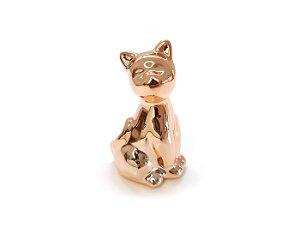 Gato Decorativo Porcelana Metálico