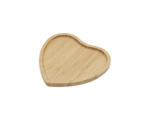 Bandeja / Petisqueira Bamboo Coração 15x15 cm