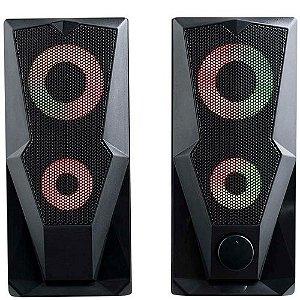 Caixa de Som Gamer P2 mais USB Stereo 2.0 15W RMS LED RGB - SP330 Multilaser