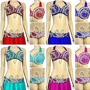 [Encomenda 45 Dias] Top e Cinto Plus Size Luxo Dança do Ventre
