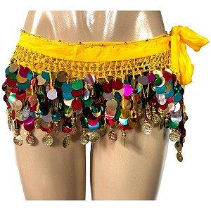 Lenço de Quadril Cinto Pastilhas Coloridas Dança do Ventre/Cigana Pronta Entrega