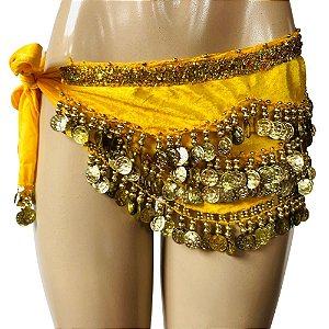 Cinto Lenço de Quadril Super Luxo 300 Moedas Com Faixa Dourada Dança do Ventre/Cigana